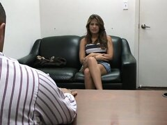 Skinny brunette Diane gets interviewed and goes to her knees to suck