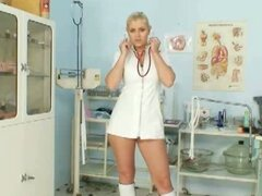 Big boobs nurse Alexa gets naughty with huge dildo