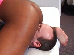 Huge nippled black woman dominates white guy