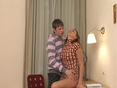 Innocent babe is making a hot blowjob