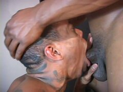 Monster gay cock pounding horny black stud cum starving throat