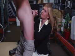Sexy blonde Milf came in my pawnshop with office equipment 031