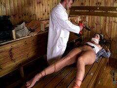 Fucking machine never fail to revive this perverted doctor's sexy patients