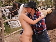 Farm life doesn't look too bad for this guy as he fucks a randy cowgirl