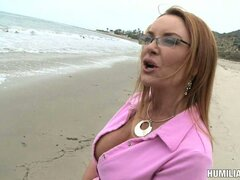 Brunette Milf Janet Mason goes for a walk and gets bound upon return