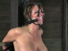Busty brunette gets bound and striped