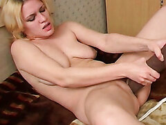 Russian weird chick Ksusha licks a huge elastic dildo like a real tool