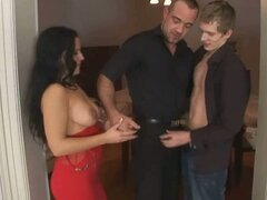 Bisexual threesome fucked with a lucky brunette babe.