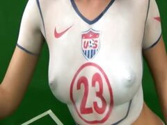 Fantastic black-haired babe Roxy Panther has painted the colours of the team of the USA on her tight naked body in her football fever! See how enthusiastic she gets during her support.