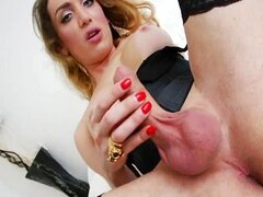 Shemale Elle shows off and masturbates