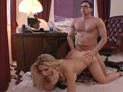 Sexy secretary Ryan Conner has sex with her boss and gets a facial cumshot