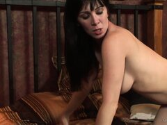 Busty brunette mom is getting her dark hole drilled by hard bone