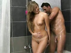 Jessica is a beautiful blonde who is getting all cleaned up in this shower scene.