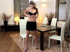 This babe with perfect thin body and long legs will mesmerize you