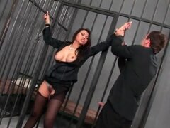 Fucking ripped pantyhose girl in jail