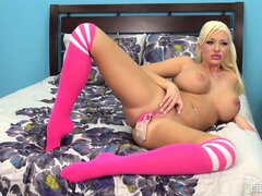 Summer savors the lovely taste of that pink dildo as is comes out of her peach