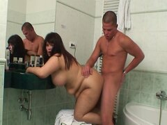 Chubby in law takes it in the bathroom