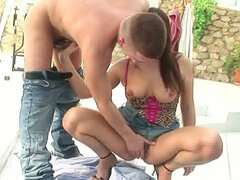 Hot outdoor encounter as red haired momma sucks sweet young cock