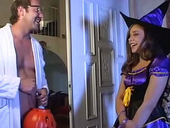 Trick or treating teen in costume fucked
