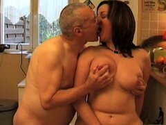 French brunette blows an old man