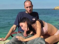 Amateur couple is on holidays now, they spend their day on the seaside. It is the best place for hot wonderful sex and the man takes his hard dick and stuffs it in tight pussy.