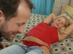 Naughty blonde teen gets seduced by older guy