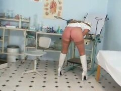 Busty blonde old nurse uses hospital tools to masturbate with
