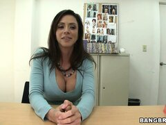 Remarkable Latina Ariella Ferrera pushes her boobs out of blouse