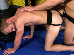 The winner takes his sparing partner s cum his ass