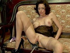 Hot Brunette Fucked By a Big Dildo and a Fucking Machine