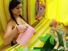 Stunning brunette in pig-tails gets fucked while selling juice