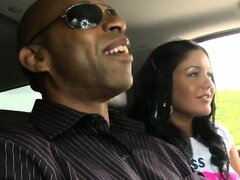 Hungry Hungarian hottie gives a quick blowjob to his big black dick in the car