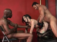 Amazing brunette stripper getting fucked by two Black guys