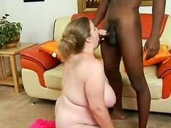Big tits greasy pussy blonde slut down for monster black cock