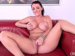 Redheaded MILF Sophie Dee jiggles the big dildo in her cunt and vibes her clit