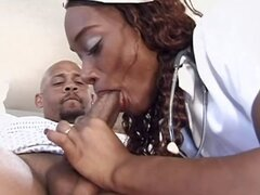 Hot ebony nurse chews on his cock and then gets drilled in both holes