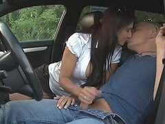 Hot Outdoors Sex With Busty Brunette After Car Driving Lesson