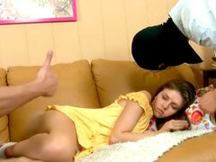 She was sleeping, when tender hands began to stroke and caress her sensual skin