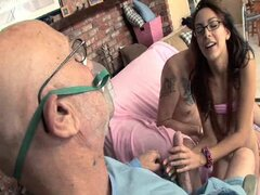 Horny girl loves old man dick.