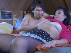 Mature babe takes sleeping hunk sweet boner
