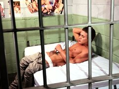 Alexander Gustavo frees his dick from his pants prison and strokes it in the cell
