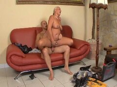 Blonde grandma fucked by a hard young cock...