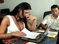 Dark-haired Angela being fucked in the office