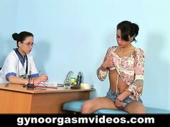 Doctor helps her patient with an orgasm