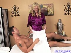 Sexy blonde masseuse rubs his tired body and sucks his eager dick