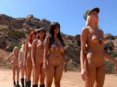 A gang of pretty chicks have all signed up for some nasty, naked boot camp