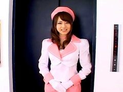 This lovely Asian babe is a stewardess