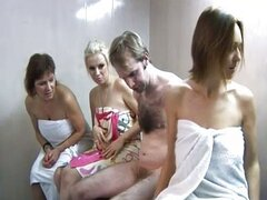 Handjob in the sauna with cfnm ladies