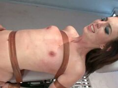Brunette tied up and roughly fucked in doggystyle