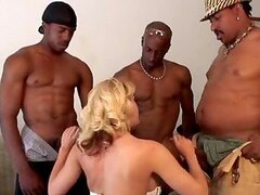 Sindy Lange fucks three black men and gets a facial cumshot
